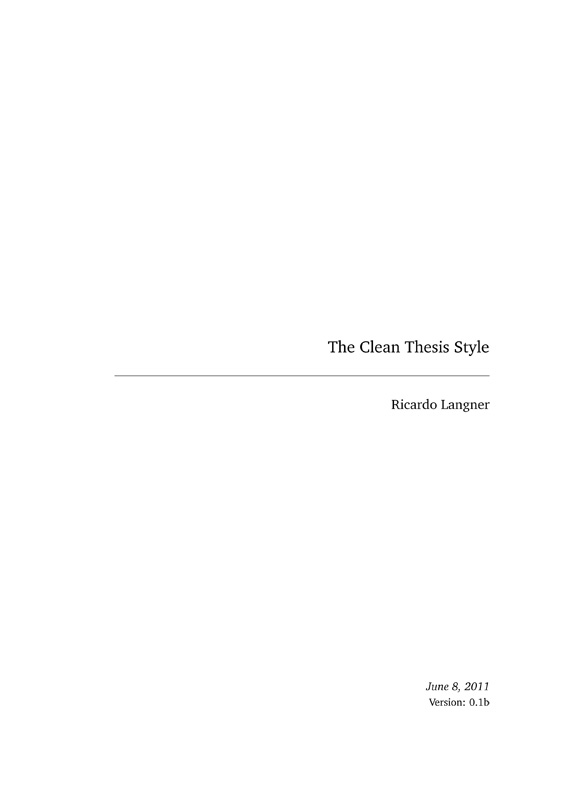 clean thesis a latex style for thesis documents developed by