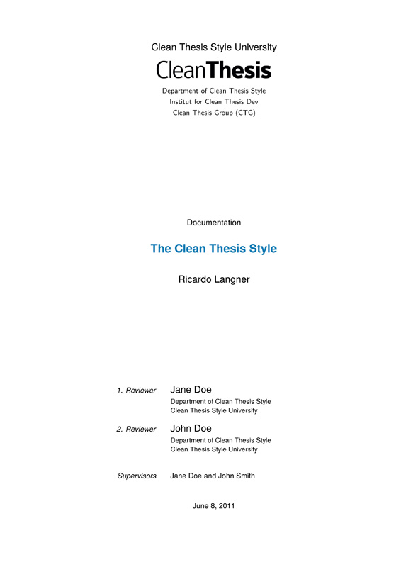 Thesis style latex